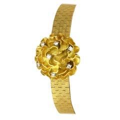 Chopard Ladies Vintage Solid 18 Karat Gold Bracelet Watch with Diamonds