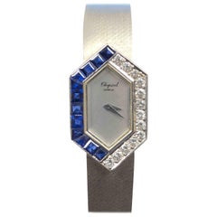 Chopard Ladies White Gold Diamond and Sapphire Mechanical Wristwatch