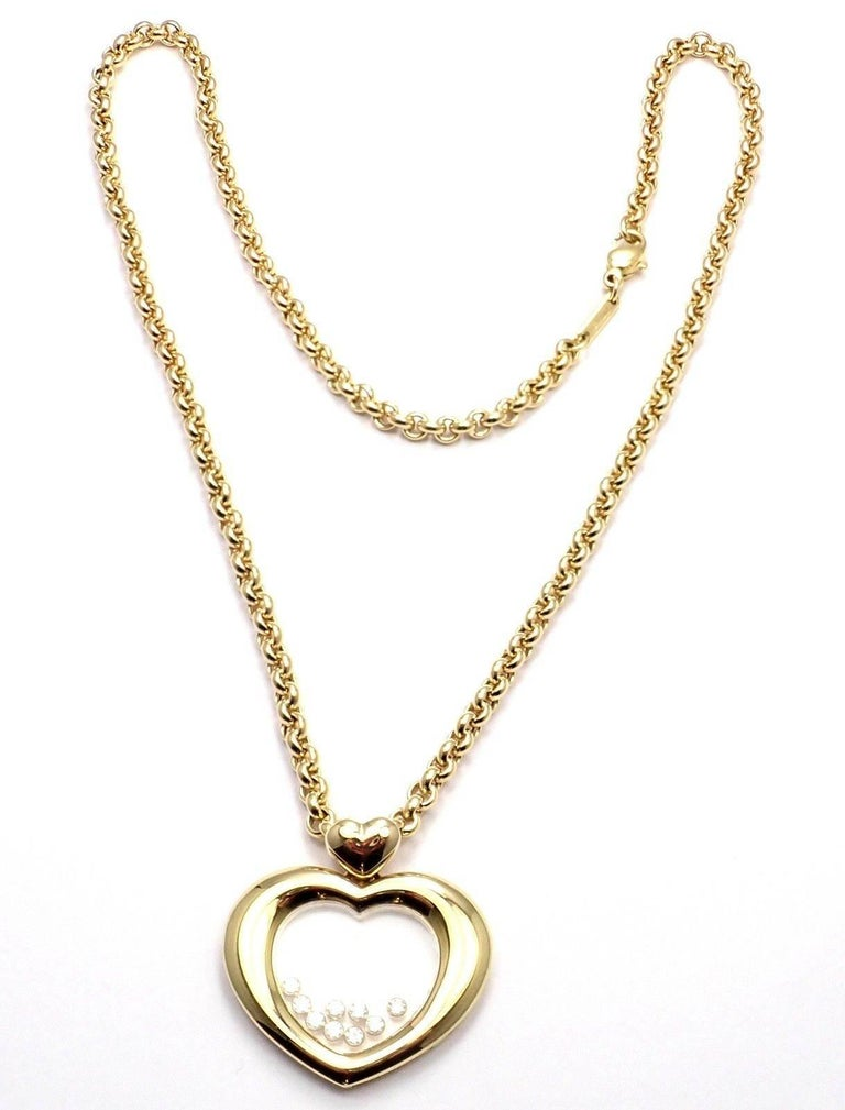 Chopard Large Happy Diamond Heart Yellow Gold Pendant Necklace In New Condition For Sale In Holland, PA