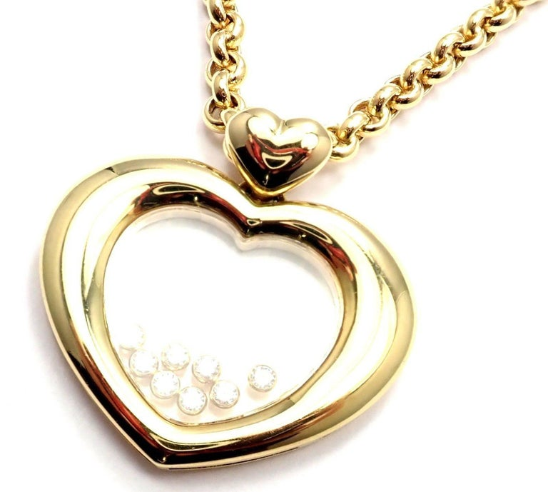 Women's or Men's Chopard Large Happy Diamond Heart Yellow Gold Pendant Necklace For Sale