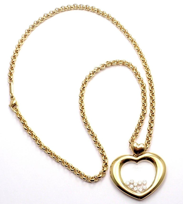 Chopard Large Happy Diamond Heart Yellow Gold Pendant Necklace For Sale 1