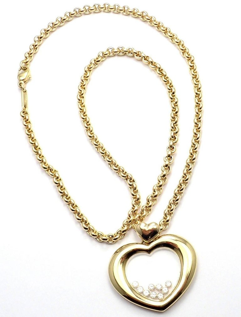 Chopard Large Happy Diamond Heart Yellow Gold Pendant Necklace For Sale 2