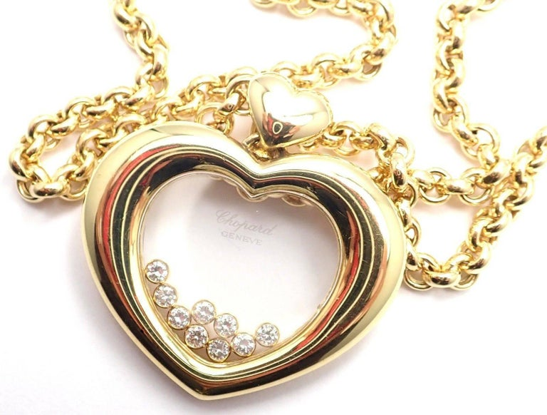 Chopard Large Happy Diamond Heart Yellow Gold Pendant Necklace For Sale 3