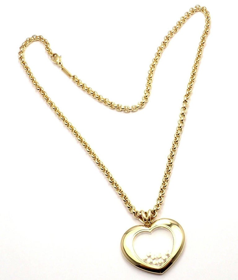 Chopard Large Happy Diamond Heart Yellow Gold Pendant Necklace For Sale 4
