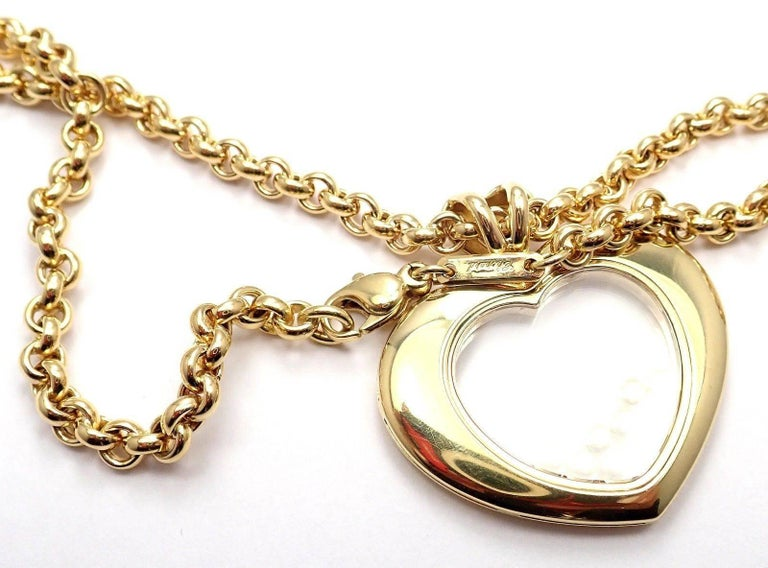 Chopard Large Happy Diamond Heart Yellow Gold Pendant Necklace For Sale 5
