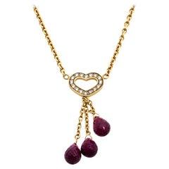 Chopard Les Chaines Heart Diamond Garnet 18K Yellow Gold Pendant Necklace