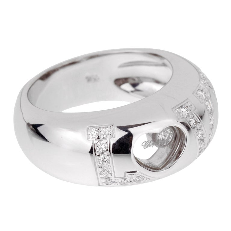 Women's or Men's Chopard Love Happy Diamond White Gold Ring For Sale