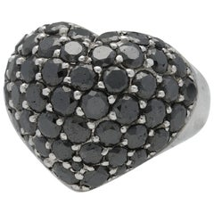 Chopard Love Heart Shaped Black Diamonds White Gold Cocktail Ring