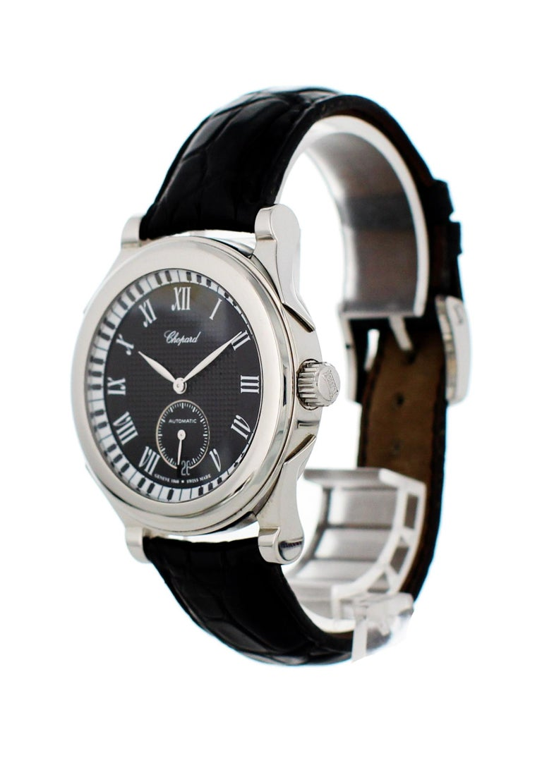 Chopard L.U.C. Jose Carreras 16/8413 Mens Watch. 40mm stainless steel case with a smooth bezel. Black dial with steel hands and white Roman numeral hour markers. Small seconds sub-dial and date display at the 6 o'clock position. Minute markers