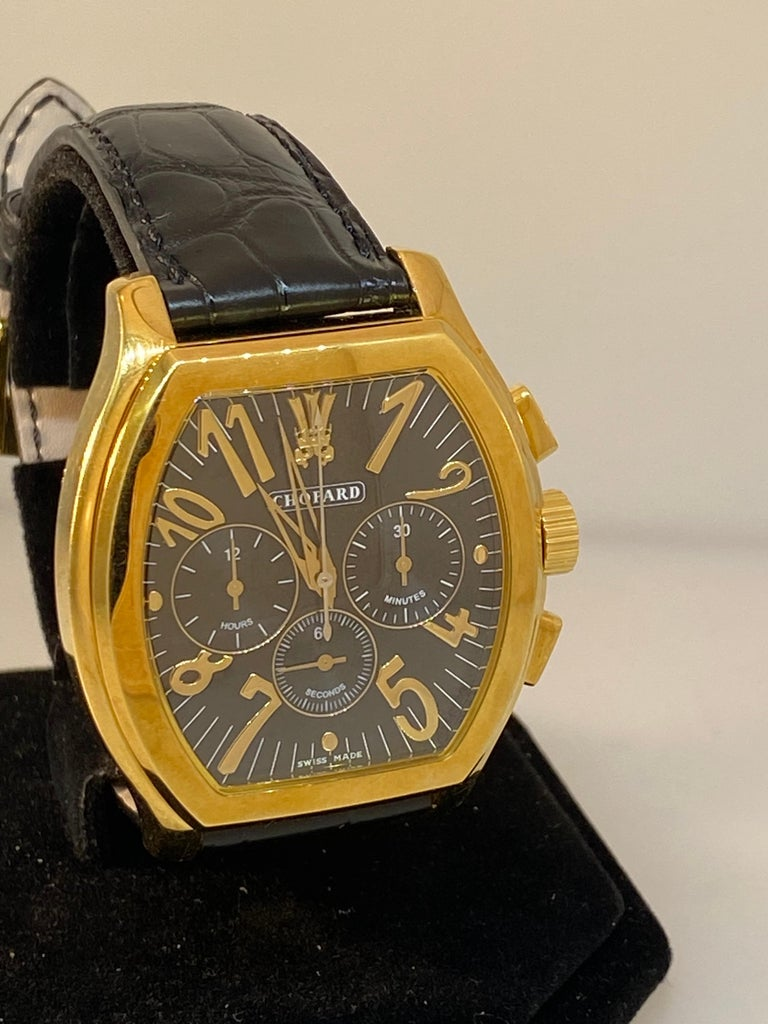 Chopard L.U.C Prince Tonneau Automatic Chronograph Black Dial Mens Watch 16/2278 In Excellent Condition For Sale In New York, NY