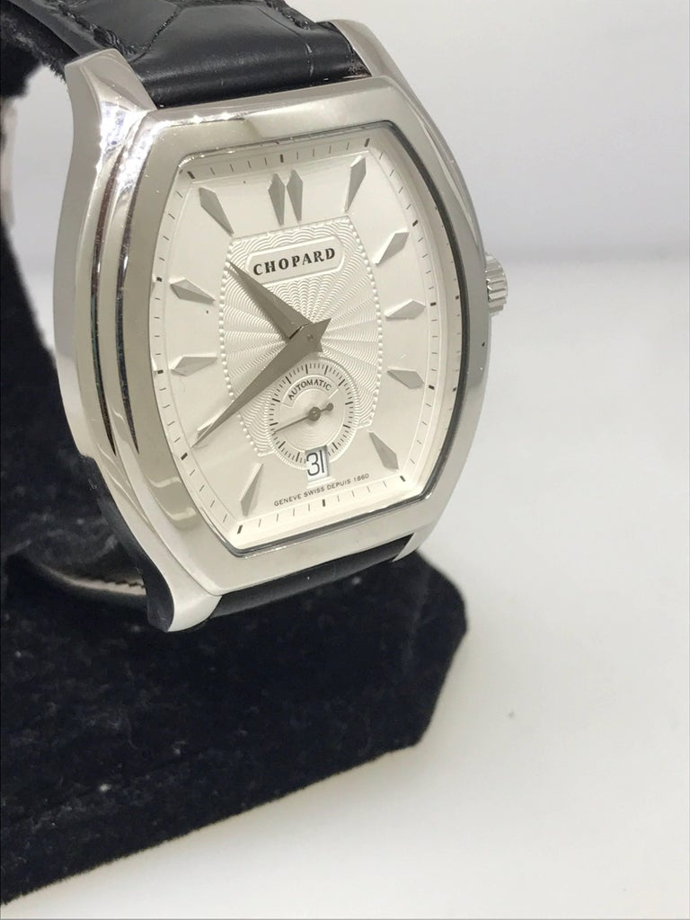 Chopard L.U.C White Gold Tonneau Shape Silver Dial Automatic Men's Watch 16/2267 In New Condition For Sale In New York, NY
