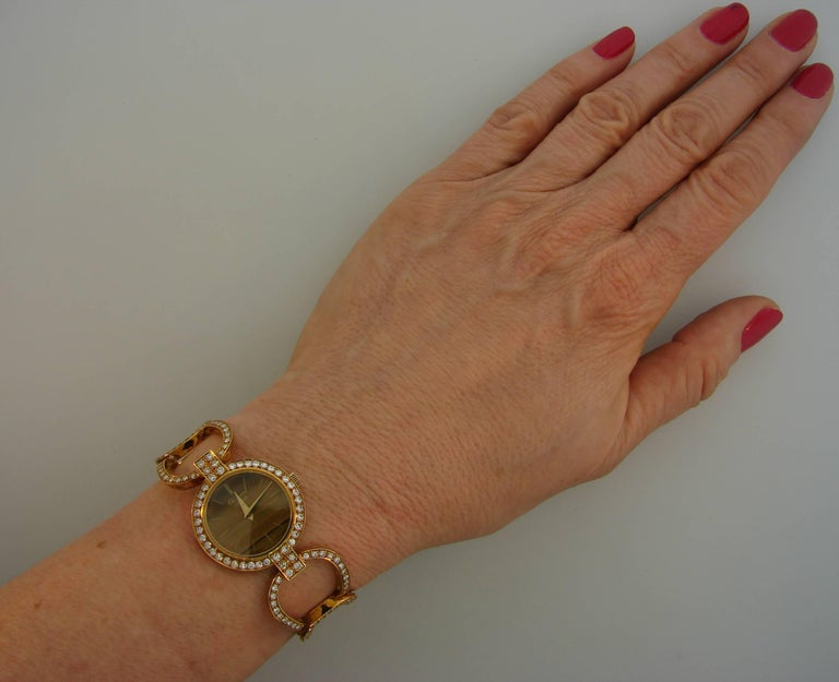Chopard LUC Yellow Gold Tiger's Eye Diamond Lady's Watch Bracelet, 1970s For Sale 6