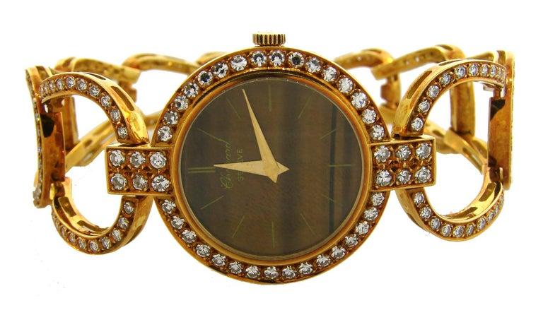 Women's Chopard LUC Yellow Gold Tiger's Eye Diamond Lady's Watch Bracelet, 1970s For Sale
