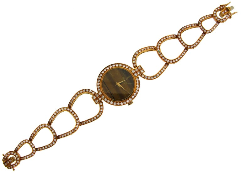 Chopard LUC Yellow Gold Tiger's Eye Diamond Lady's Watch Bracelet, 1970s For Sale 1