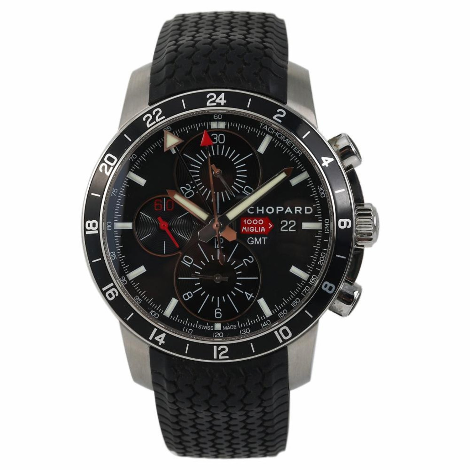 8c45745806d0 Chopard Mille Miglia Chrono GMT 168550 Men s Automatic Watch Black Dial SS  For Sale at 1stdibs