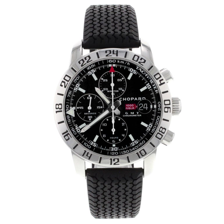 90a8ed533d4f Chopard Mille Miglia GMT Chrono Steel Black Dial Automatic Watch 168992-3001  For Sale