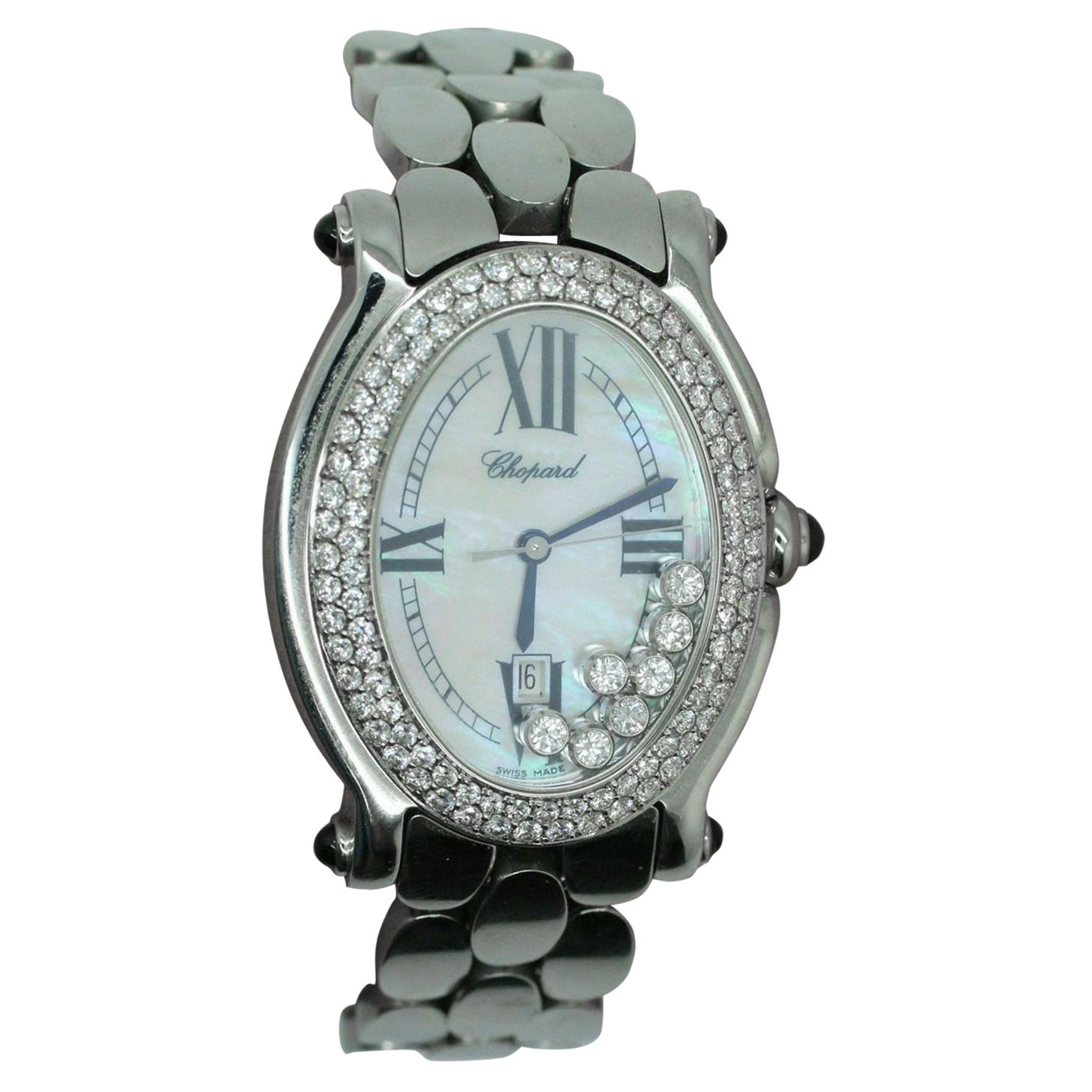 Chopard Oval Diamond and Stainless Steel Watch