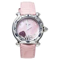 Chopard Pink Stainless Steel Diamonds Love Happy Sport Women's Wristwatch 38 MM