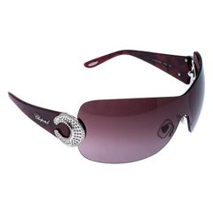 Chopard Purple SCH 939S Crystal Embellished Shield Sunglasses
