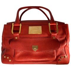 Chopard Red Leather Large Handbag,  happy diamond series heart closure.