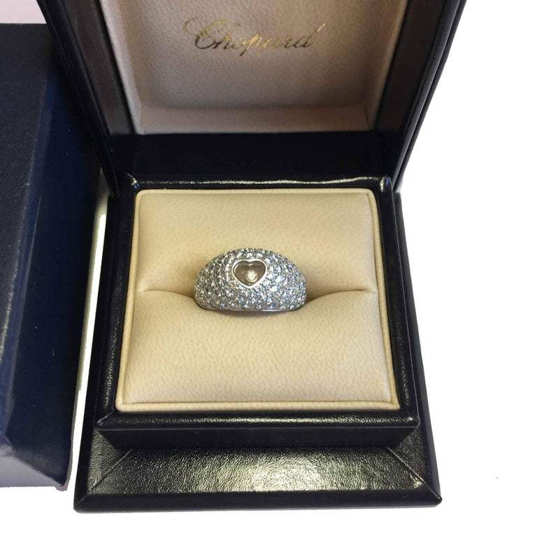CHOPARD Ring in 18K White Gold set with Brilliant Cut Diamonds Size 56 For Sale 7