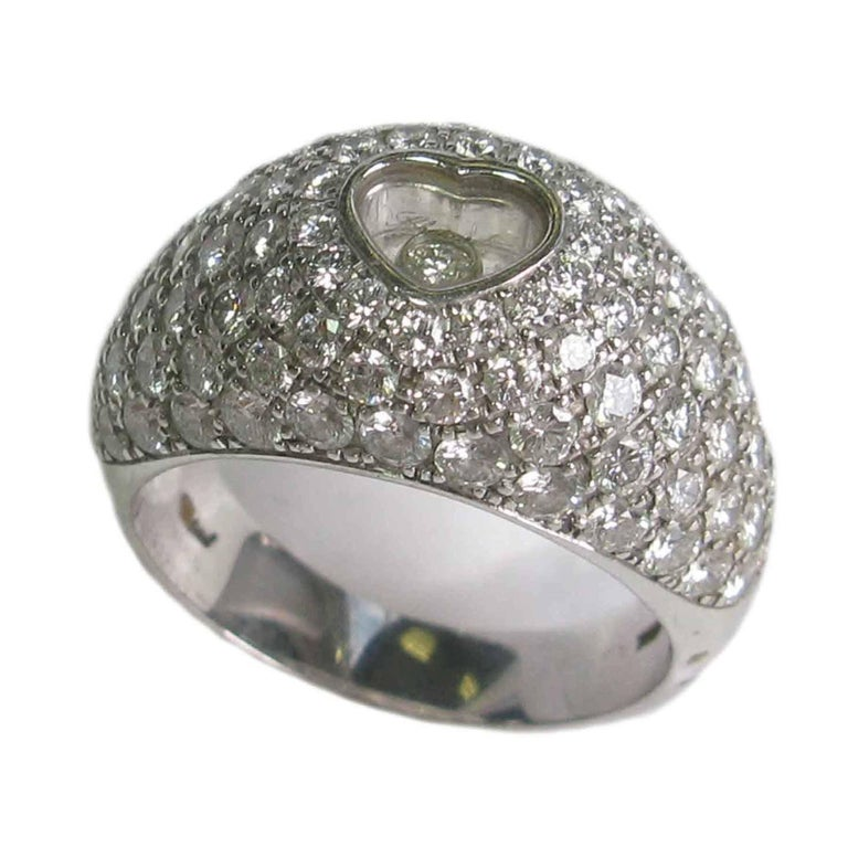 CHOPARD Ring in 18K White Gold set with Brilliant Cut Diamonds Size 56 In Excellent Condition For Sale In Paris, FR