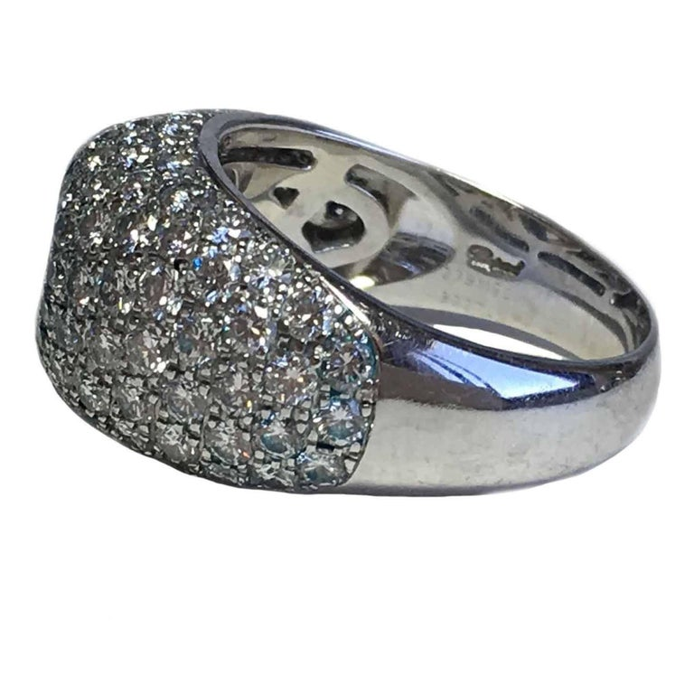 Women's CHOPARD Ring in 18K White Gold set with Brilliant Cut Diamonds Size 56 For Sale