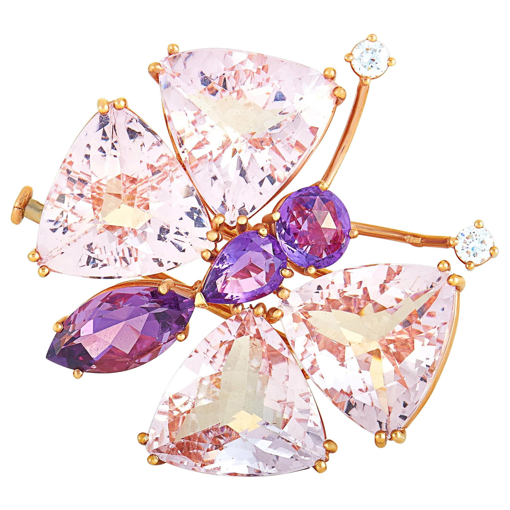 Chopard Rose Gold Diamond, Amethyst and Morganite Butterfly Brooch