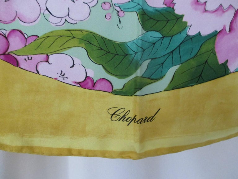This yellow Chopard scarf is a true collector's scarf, one to own to wear, show or frame. The perfect colorway to accessorize your wardrobes. This Chopard silk scarf with Yamada Heiando name, they collaborated with there work clients, embassys with