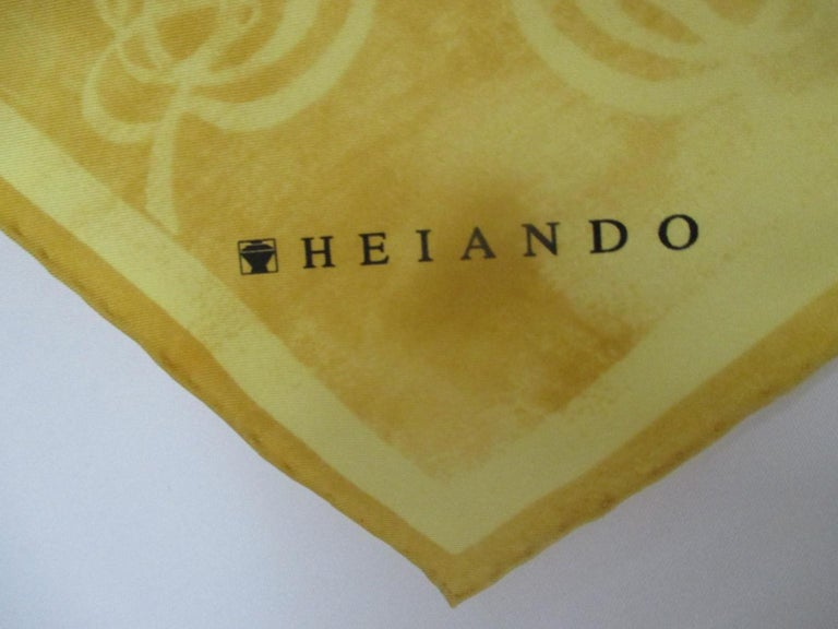 Chopard for Heiando Silk Scarf Butterfly Flowers  In Excellent Condition For Sale In Amsterdam, NL