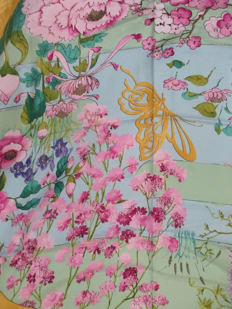 Women's or Men's Chopard for Heiando Silk Scarf Butterfly Flowers  For Sale