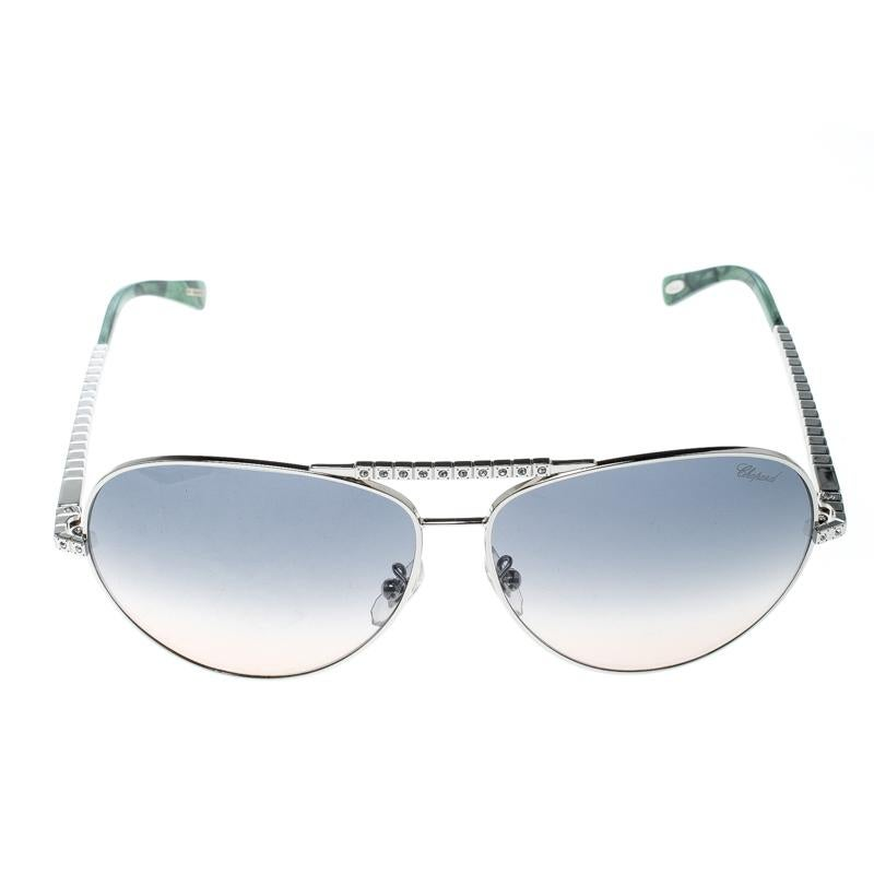 ff17abd9e Chopard Silver/Green Gradient SCH934S Embellished Aviator Sunglasses at  1stdibs