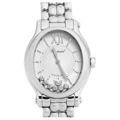 Chopard Silver Stainless Steel Diamond Happy Sport 8602 Women's Wristwatch 30 mm