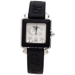 Chopard Silver Stainless Steel Rubber Be Happy 2 Women's Wristwatch 27 mm