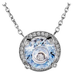 Chopard So Happy 18 Karat Gold 0.23 ct Diamond and Blue Crystal Pendant Necklace