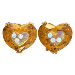 Chopard So Happy 18 Karat Yellow Gold 6 Floating Diamonds Heart Omega Earrings
