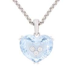 Chopard 'So Happy Heart' Aquamarine and Diamond Necklace