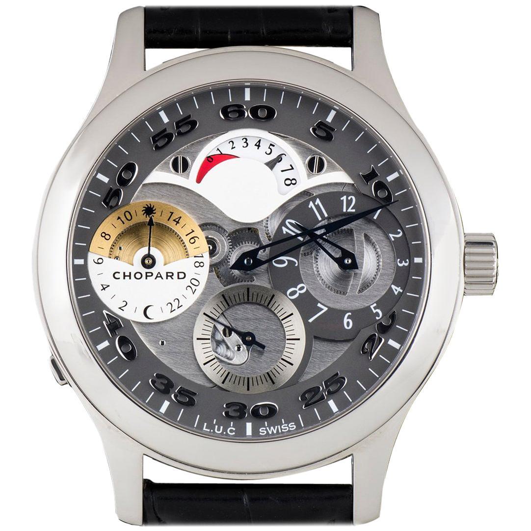 Chopard Stainless Steel Regulateur Steel Grey Semi-Skeleton Manual Wristwatch