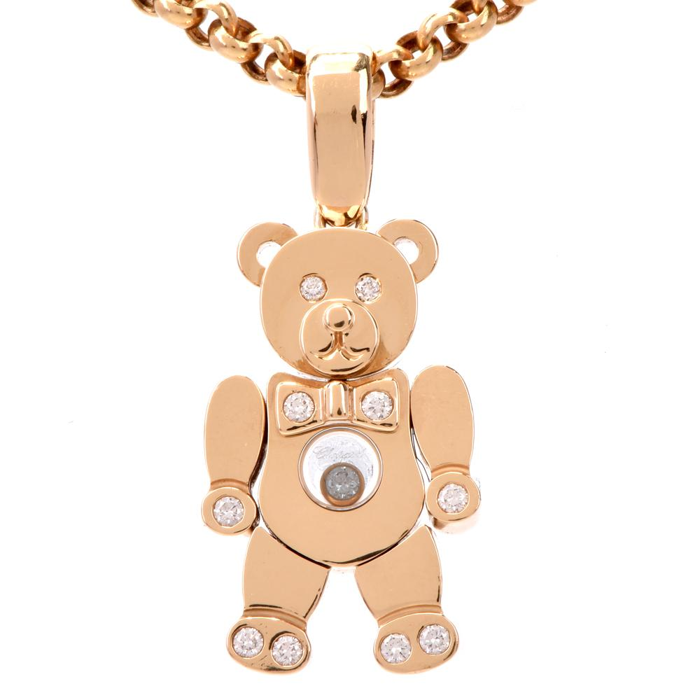 2fa761473ad0a7 Chopard Teddy Bear Happy Diamonds Yellow Gold Pendant Necklace at 1stdibs