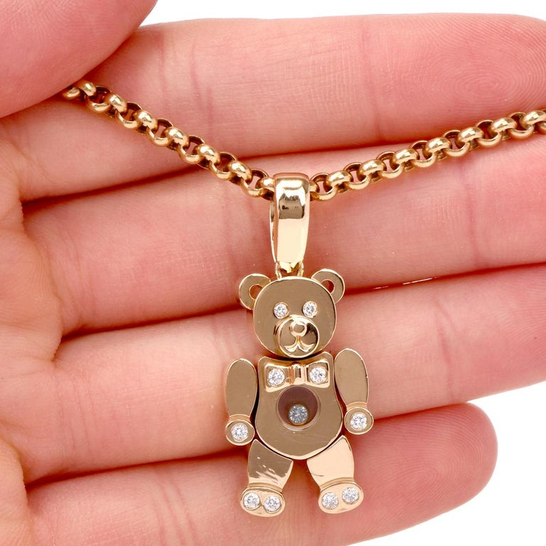 b7bf689515e43c Chopard Teddy Bear Happy Diamonds Yellow Gold Pendant Necklace For Sale 2