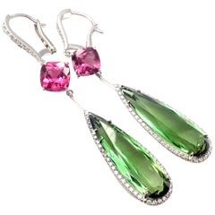 Chopard Temptation Diamond Tourmaline Rubellite White Gold Drop Earrings