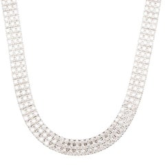 Chopard Three Row Ice Cube Diamonds and White Gold Necklace, Earrings & Ring Set