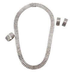 Chopard Three Row Ice Cube Diamonds & White Gold Necklace, Earrings and Ring Set