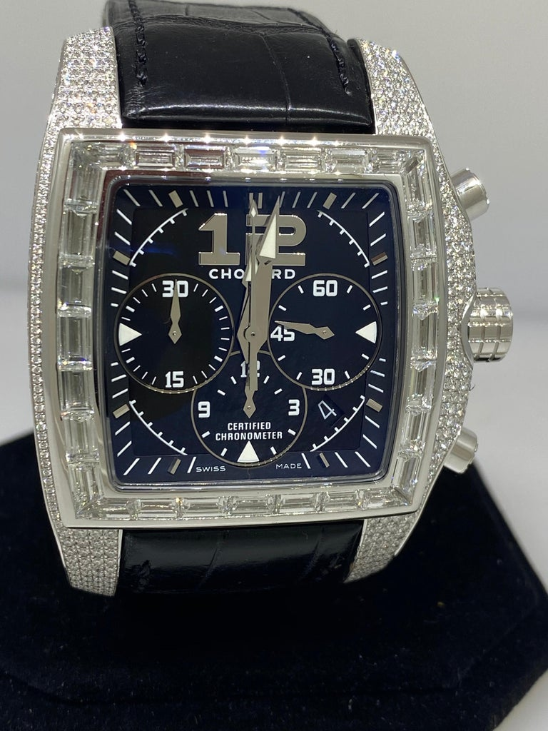 Chopard Two O Ten Diamond Case Black Dial Automatic Men's Watch 17/2272-1001 In Excellent Condition For Sale In New York, NY