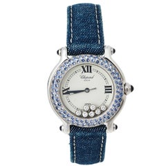 Chopard White 18K Sapphire Happy Sport S27/6177-23 Women's Wristwatch 33 mm