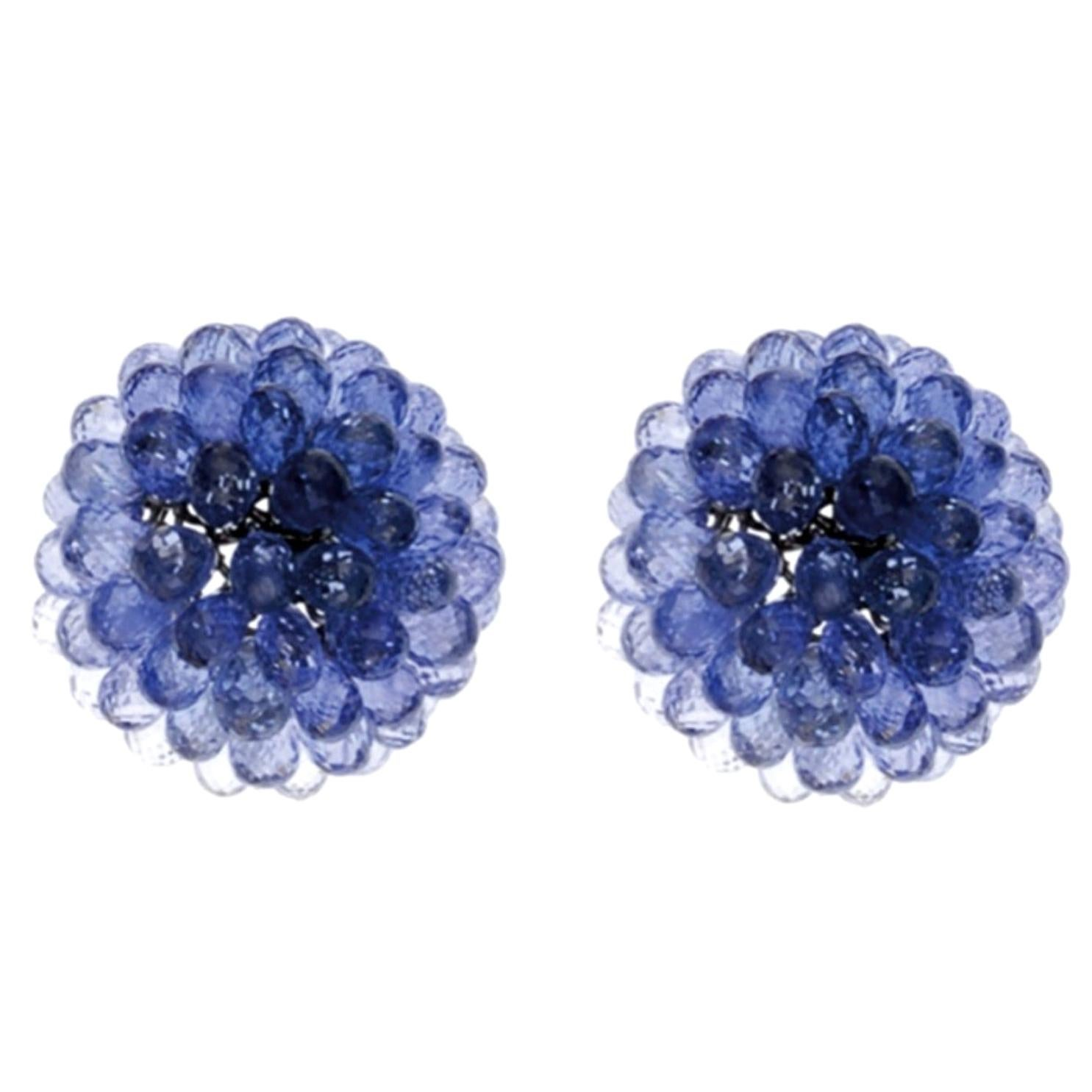 Chopard White Gold Briolette Sapphire Earrings, 80.90 Carat