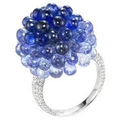Chopard White Gold Briolette Sapphire Ring, 47.81 Carat