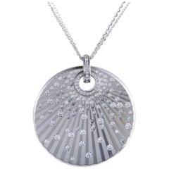 Chopard White Gold Diamond Disc Pendant Necklace