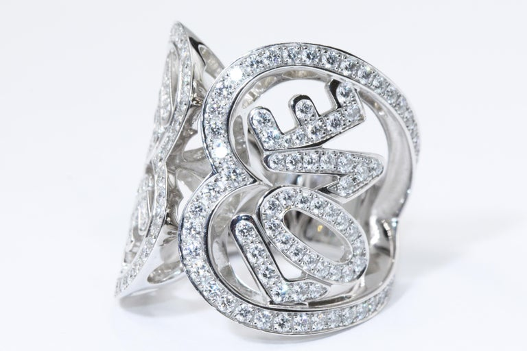 White Gold Heart Ring 174 DIAM 2.3CT FC  Weight: approximately 18.49g Size US 6.5 EU 53 Item come with a warranty and box CPJ036