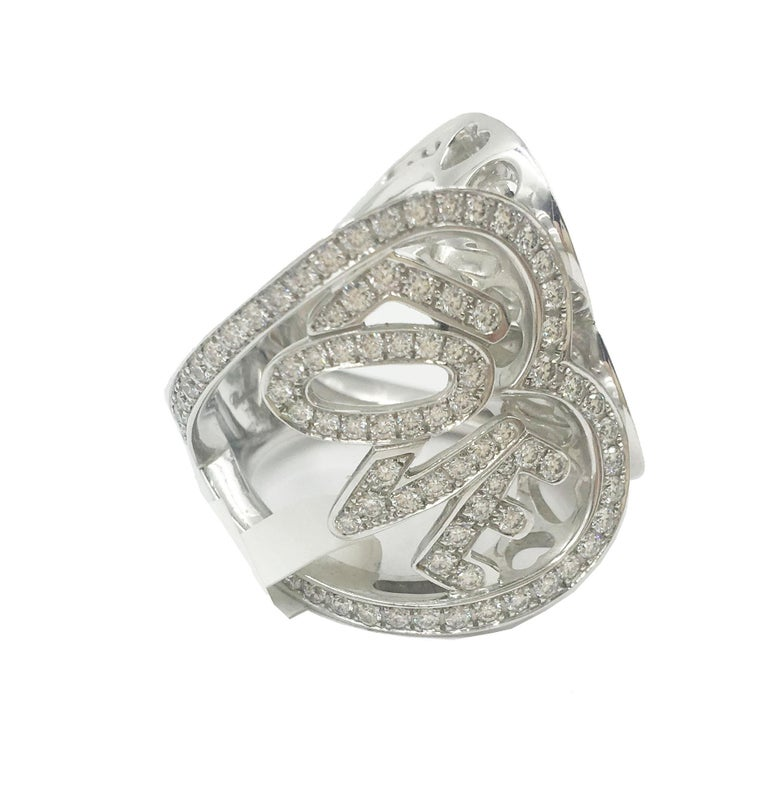 Chopard White Gold Diamonds Heart Ring In Excellent Condition For Sale In New York, NY